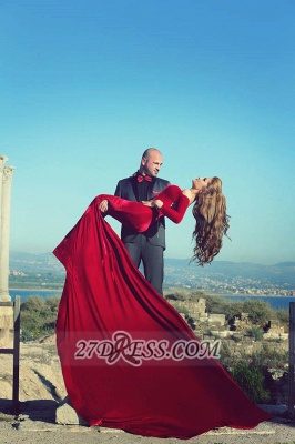 Modern Off-shoulder Sexy Mermaid Red Wedding Dress Long Sleeve Long Train_5