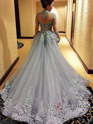 Modest Tulle Appliques High-Neck Long-Sleeves Prom Dress UK_2