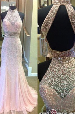 Crystal Mermaid Halter Open-Back Two-Pieces Luxury Prom Dress UK_1