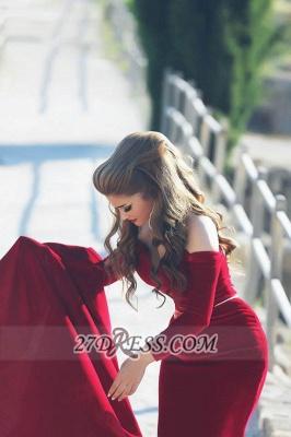 Modern Off-shoulder Sexy Mermaid Red Wedding Dress Long Sleeve Long Train_2