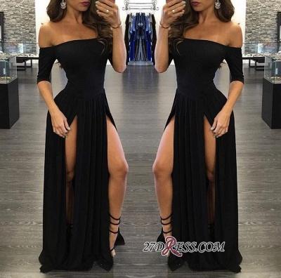 Elegant Chiffon Off-the-shoulder Split Half-Sleeve Black Prom Dress UK BA3801_1