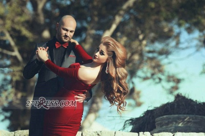 Modern Off-shoulder Sexy Mermaid Red Wedding Dress Long Sleeve Long Train_3