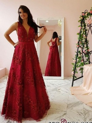 Sexy V-Neck Prom Dress UK | Evening Gowns With Appliques_2