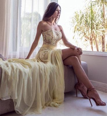 Sexy Strapless Prom Dress UK | Yellow Lace Evening Dress UK With Slit_3