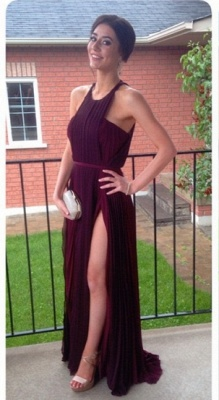 Luxury Burgundy Sleeveless Prom Dress UKes UK Long Chiffon BO6028_2