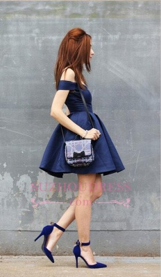 Dark-Navy Off-the-shoulder Modest A-line Short Homecoming Dress UK_1