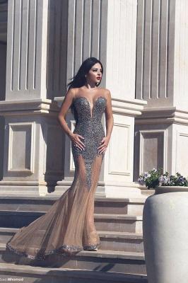 Elegant V-neck Mermaid Tulle Prom Dress UK Beadings Sleeveless MH043_2