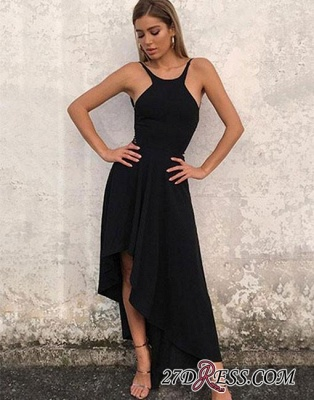 Sleeveless Stylish High-low Chiffon Backless A-line Evening Dress UK_2
