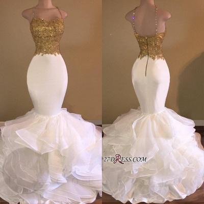 Lace-Appliques Sleeveless Ruffles Mermaid Elegant Spaghetti-Strap Prom Dress UK_3