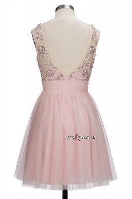 Fashion Pink Jewel Cap-Sleeve Tulle Short Cocktail Dress UKes UK_4