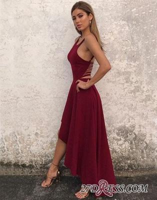 Sleeveless Stylish High-low Chiffon Backless A-line Evening Dress UK_3