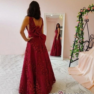 Sexy V-Neck Prom Dress UK | Evening Gowns With Appliques_1