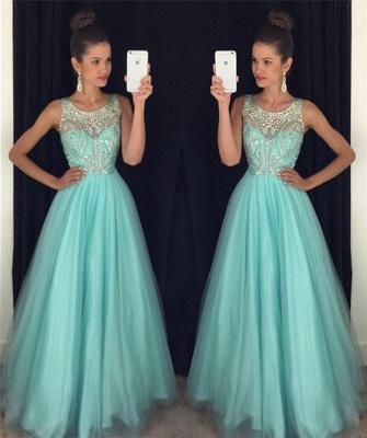 Modern Beadings A-line Illusion Evening Dress UK Tulle Floor-length Sleeveless AP0_3