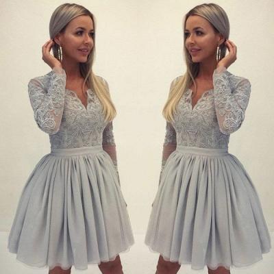 Sexy Long Sleeve Lace Homecoming Dress UK | 2019 Mini Short Dress UK_3