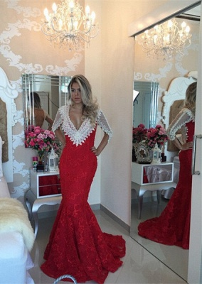 Modern V-neck Lace Mermaid Prom Dress UK Half Sleeve Zipper NB089_1