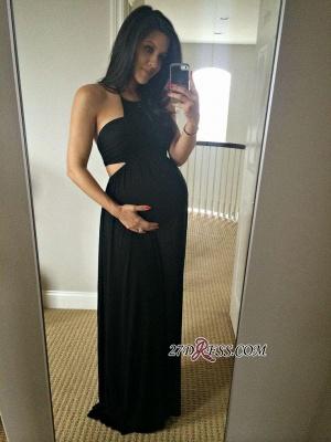 Long Black Sleeveless Elegant Halter Maternity A-line Prom Dress UK_2