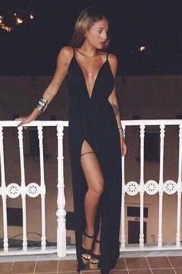 Elegant Black V-Neck Spaghetti Straps Prom Dress UK Long Split Party Gowns BA7881_1