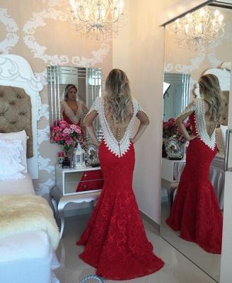 Modern V-neck Lace Mermaid Prom Dress UK Half Sleeve Zipper NB089_2