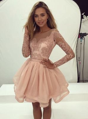 Gorgeous Long Sleeve Lace Homecoming Dress UK Tulle Zipper Back BA7086_1