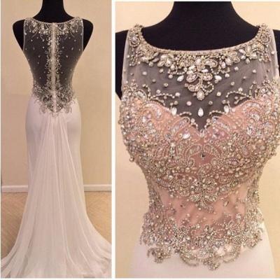 Gorgeous Illusion Sleeveless Long Prom Dress UK With Beadings Crystals_3