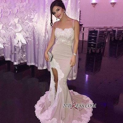 Appliques Gorgeous Side-Slit Spaghetti-Straps Mermaid Prom Dress UK_1