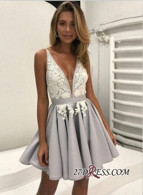 Cute Sleeveless V-neck Short Lace Homecoming Dress UK BA6972_3