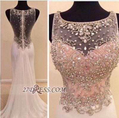 Gorgeous Illusion Sleeveless Long Prom Dress UK With Beadings Crystals_2