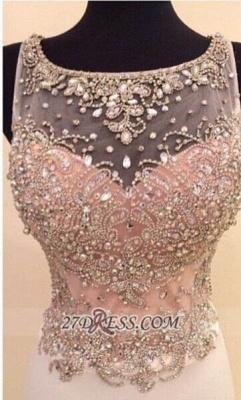 Gorgeous Illusion Sleeveless Long Prom Dress UK With Beadings Crystals_1