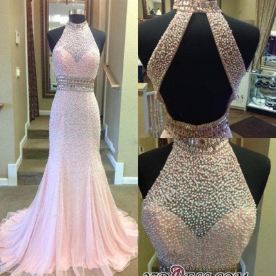 Crystal Mermaid Halter Open-Back Two-Pieces Luxury Prom Dress UK_2