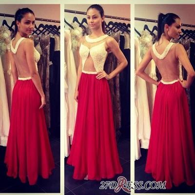 A-line Floor-length Scoop Red Sleeveless Hollow Evening Dress UK_1