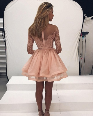 Gorgeous Long Sleeve Lace Homecoming Dress UK Tulle Zipper Back BA7086_3