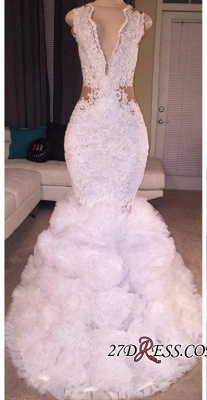 Criss-cross Sleeveless Mermaid Lace Ruffles Deep-V-neck Appliques Prom Dress UK BA5316_2