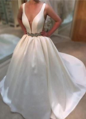 Newest A-line Beads Sleeveless V-neck Sweep-Train Wedding Dress_2