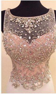 Gorgeous Illusion Sleeveless Long Prom Dress UK With Beadings Crystals_4