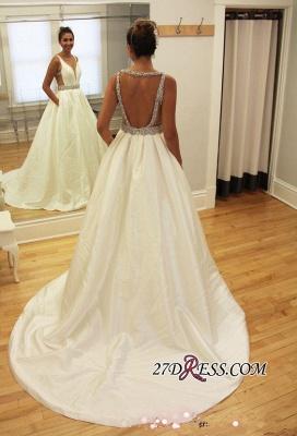 Newest A-line Beads Sleeveless V-neck Sweep-Train Wedding Dress_1