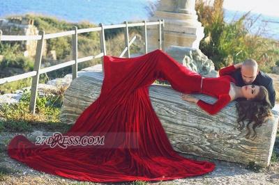 Modern Off-shoulder Sexy Mermaid Red Wedding Dress Long Sleeve Long Train_4