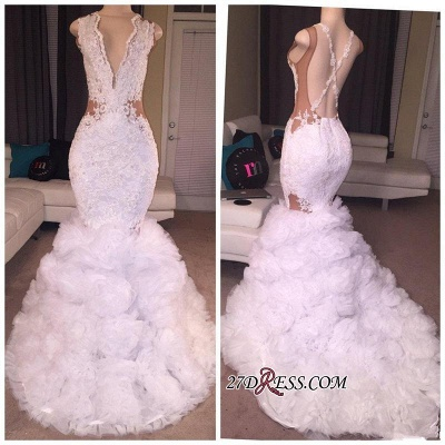 Criss-cross Sleeveless Mermaid Lace Ruffles Deep-V-neck Appliques Prom Dress UK BA5316_1