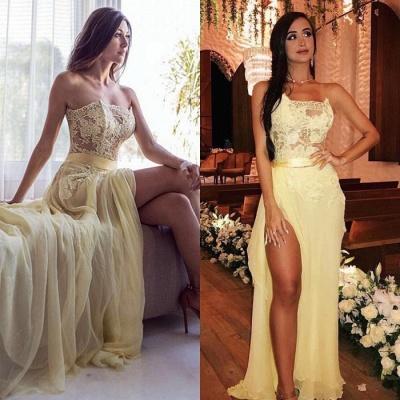 Sexy Strapless Prom Dress UK | Yellow Lace Evening Dress UK With Slit_4