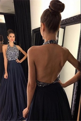 Elegant Black Halter Prom Dress UKes UK Backless Long Chiffon With Beadings AP0_1