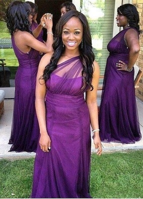Sexy One Shoulder Purple Bridesmaid Dress UK Long Tulle Plus Size_1