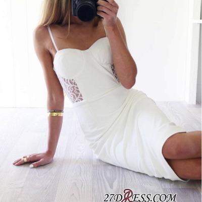 Sheath White Sexy Lace Knee-Length Spaghetti-Straps Elegant Tight Homecoming Dress UK_3