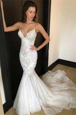 Elegant  Sexy Mermaid Spaghetti Straps Wedding Dresses UK | Appliques Bridal Gowns_1