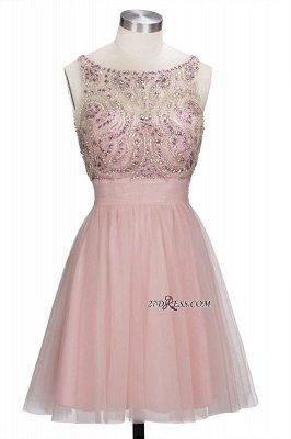 Fashion Pink Jewel Cap-Sleeve Tulle Short Cocktail Dress UKes UK_6