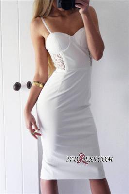 Sheath White Sexy Lace Knee-Length Spaghetti-Straps Elegant Tight Homecoming Dress UK_2