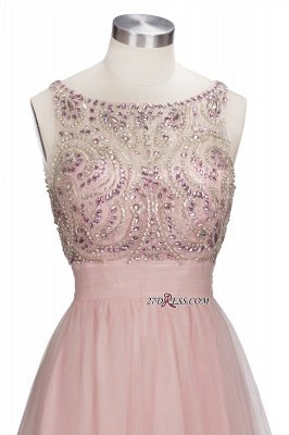 Fashion Pink Jewel Cap-Sleeve Tulle Short Cocktail Dress UKes UK_3