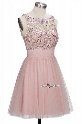 Fashion Pink Jewel Cap-Sleeve Tulle Short Cocktail Dress UKes UK_5