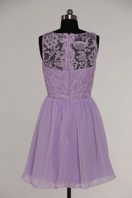 Lovely Illusion Sleeveless Chiffon Short Cocktail Dress UK With Lace_11