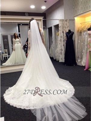 Elegant Bateau Long Sleeve Tulle Wedding Dress With Lace_3