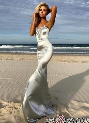 Sweetheart Crystals Sleeveless Sweep-Train Mermaid Elegant Prom Dress UK BA6763_3