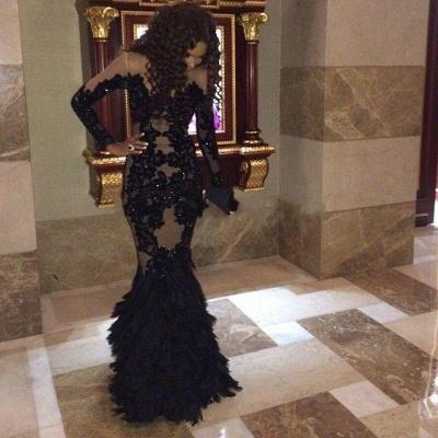 Elegant Black Mermaid Prom Dress UKes UK Long Sleeve Tulle Appliques_3